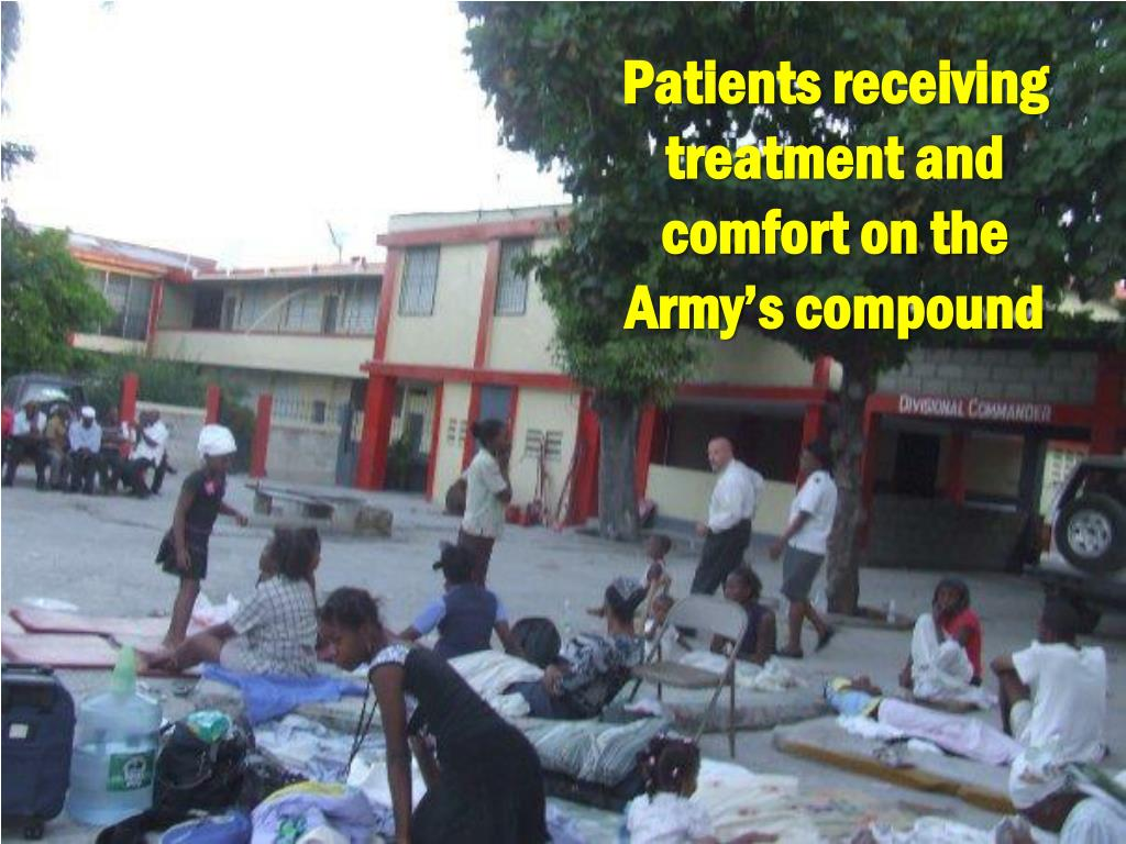 Patients receiving treatment and comfort on the Army's compound