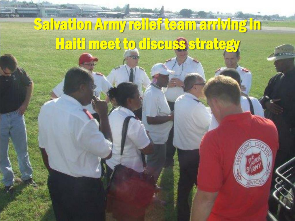 Salvation Army relief team arriving in Haiti meet to discuss strategy