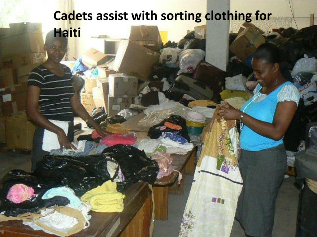 Cadets assist with sorting clothing for Haiti