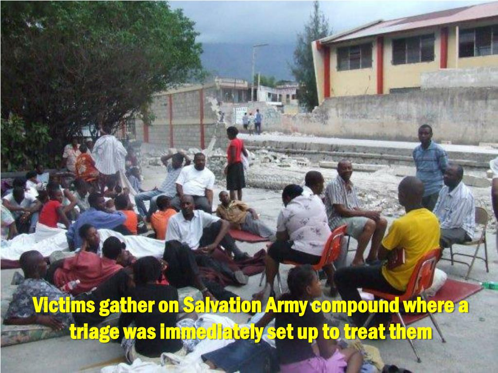 Victims gather on Salvation Army compound where a triage was immediately set up to treat them