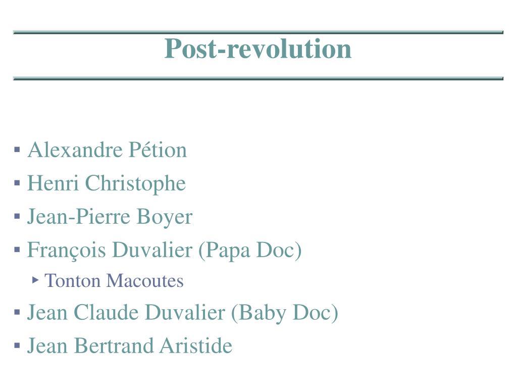 Post-revolution