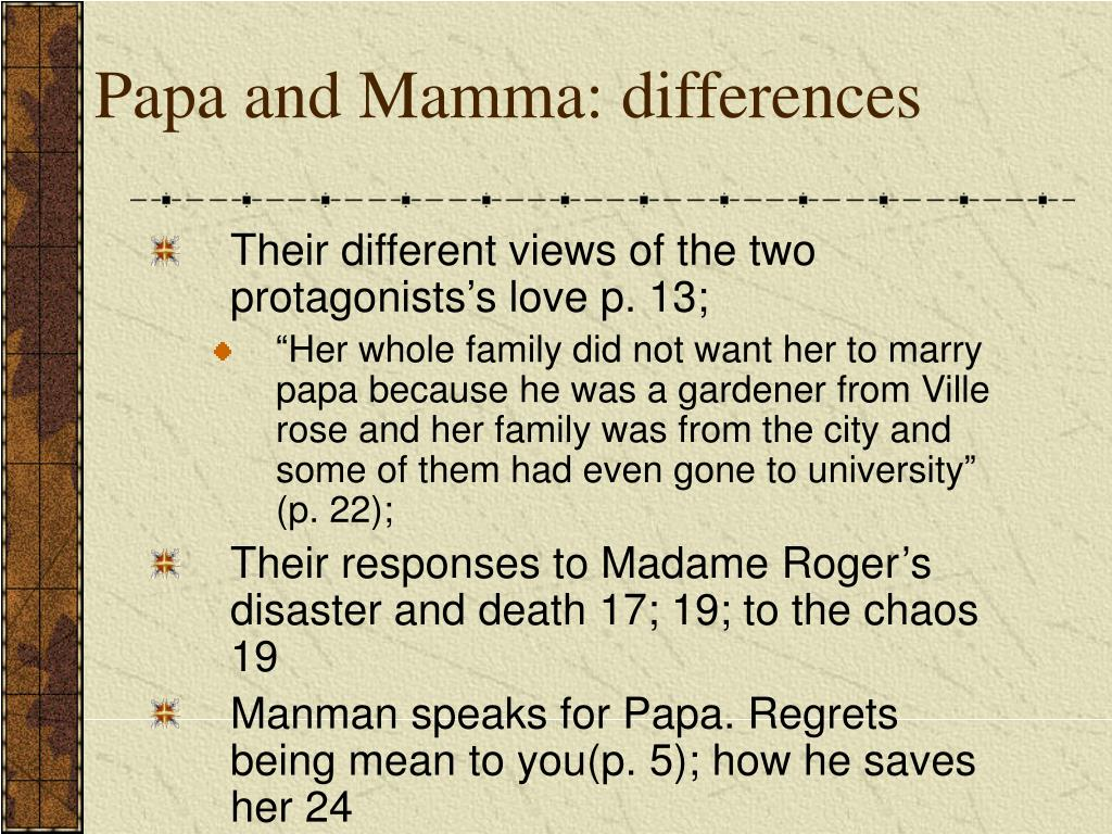 Papa and Mamma: differences
