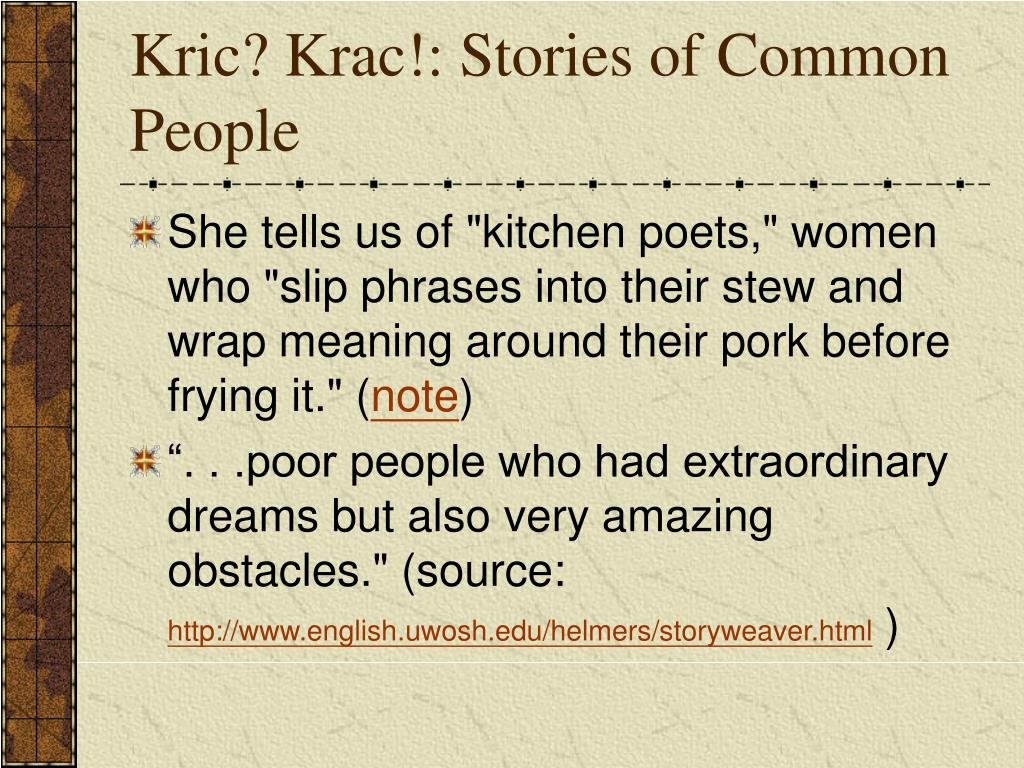 Kric? Krac!: Stories of Common People