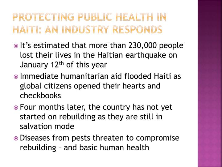 Protecting public health in haiti an industry responds l.jpg