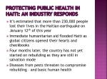 protecting public health in haiti an industry responds