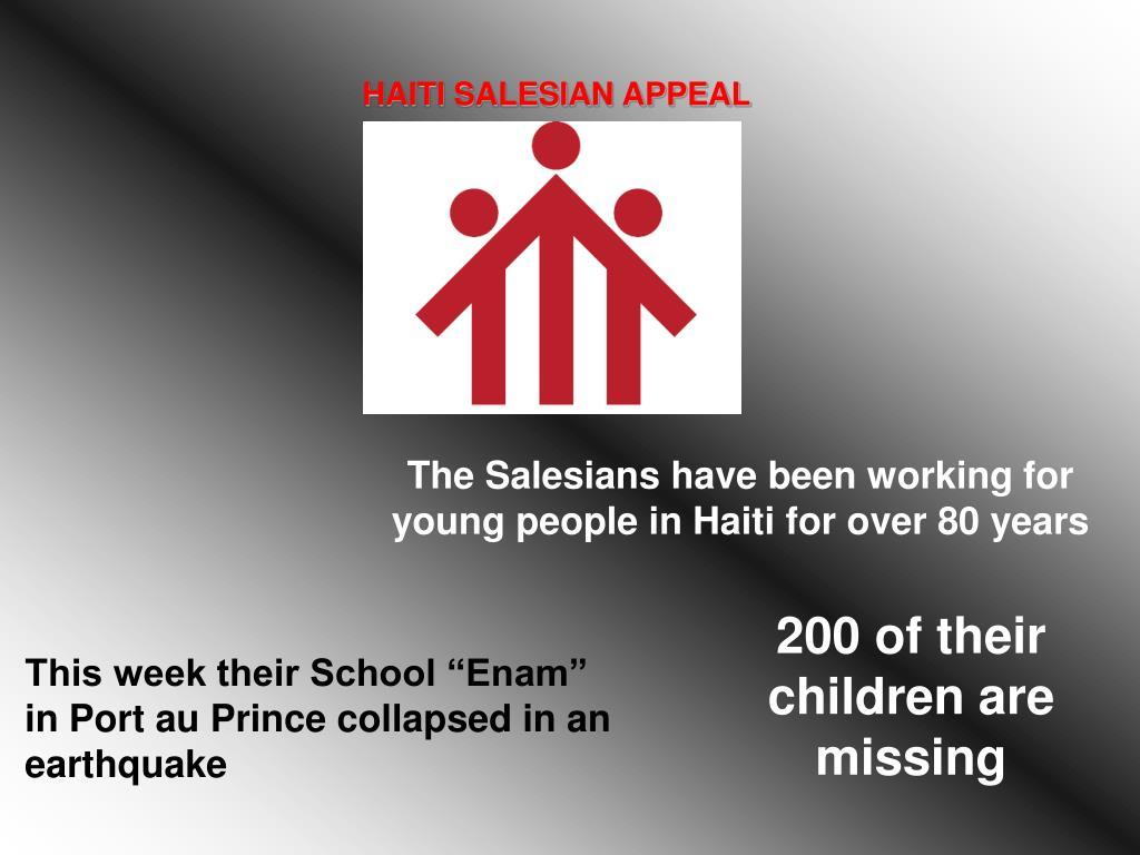 HAITI SALESIAN APPEAL