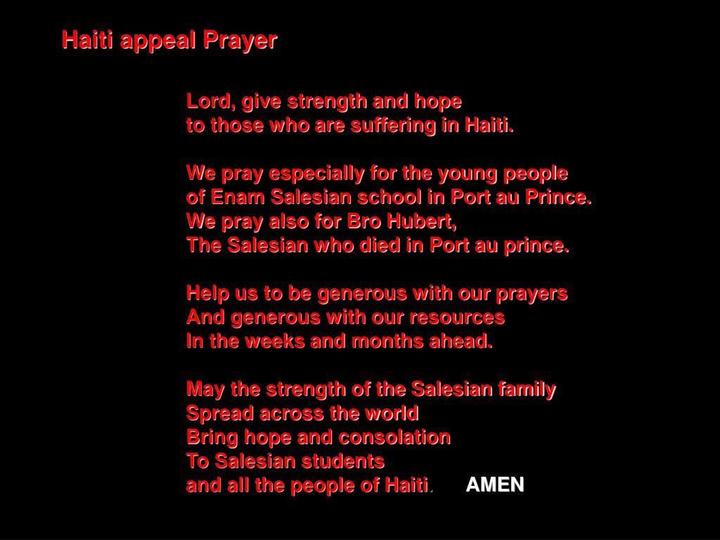 Haiti appeal Prayer