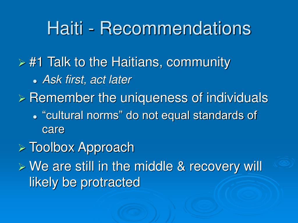 Haiti - Recommendations
