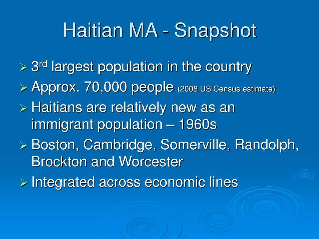 Haitian MA - Snapshot