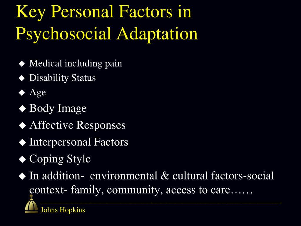 Key Personal Factors in Psychosocial Adaptation