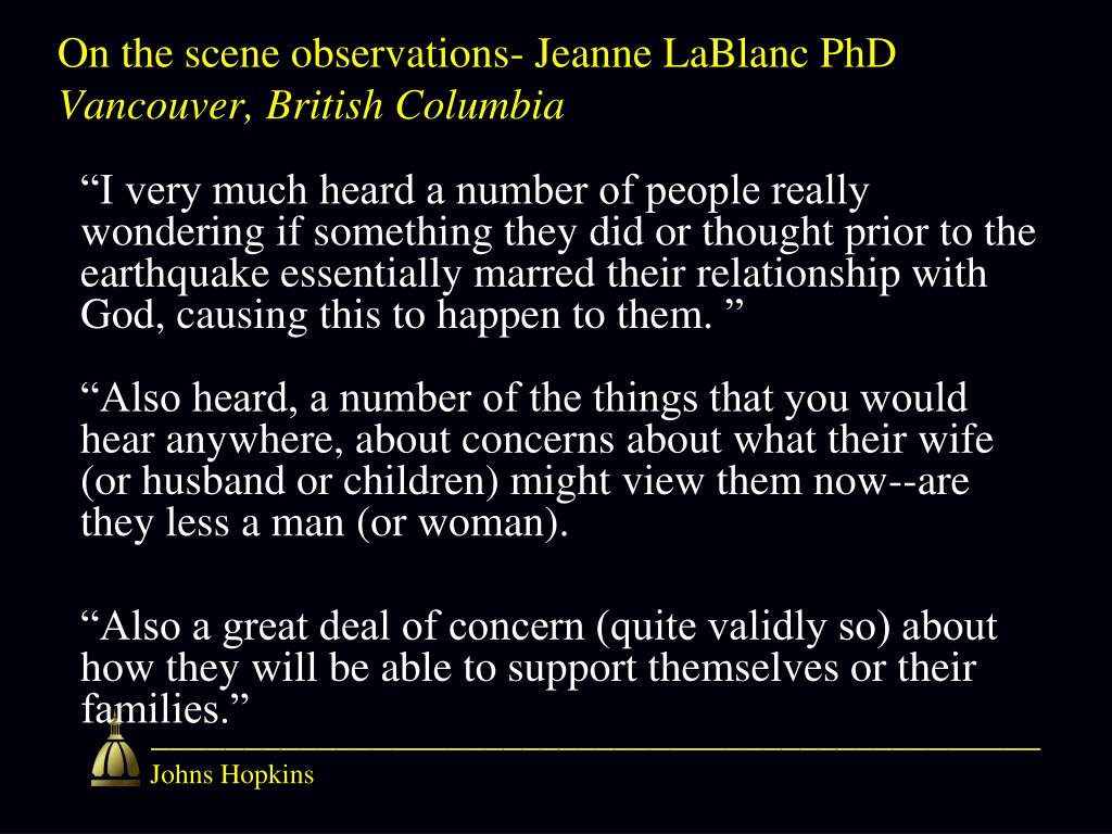 On the scene observations- Jeanne LaBlanc PhD