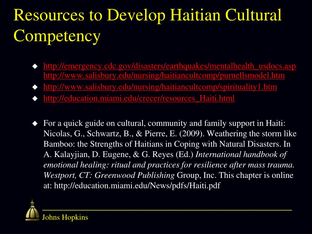 Resources to Develop Haitian Cultural Competency