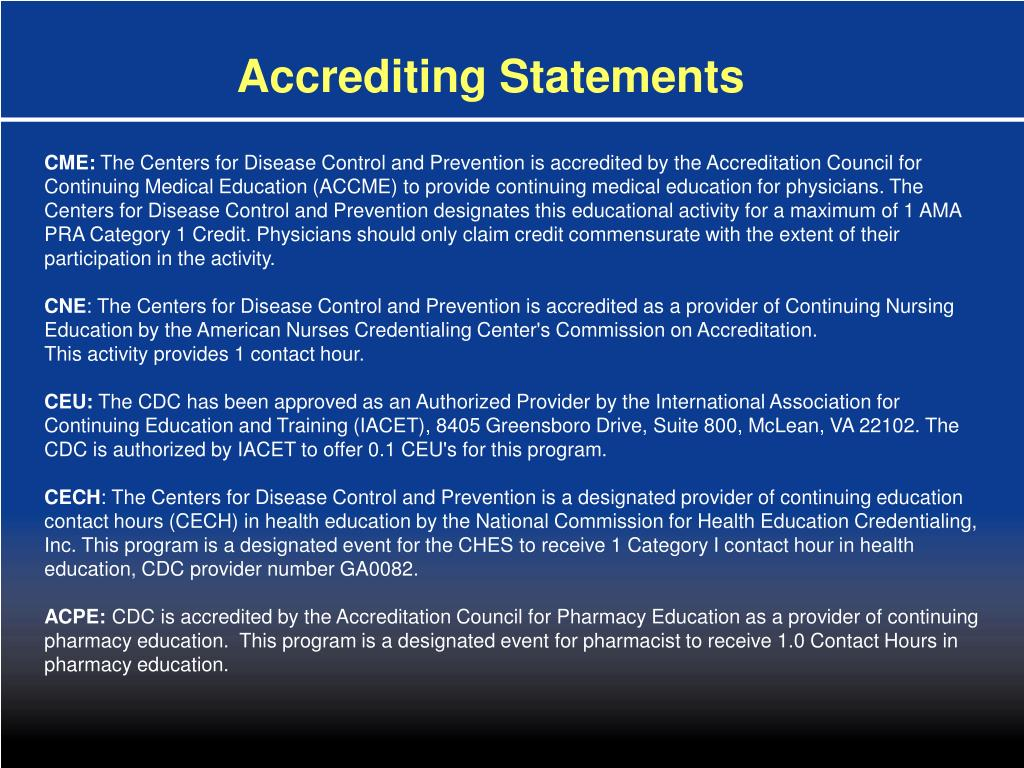 Accrediting Statements