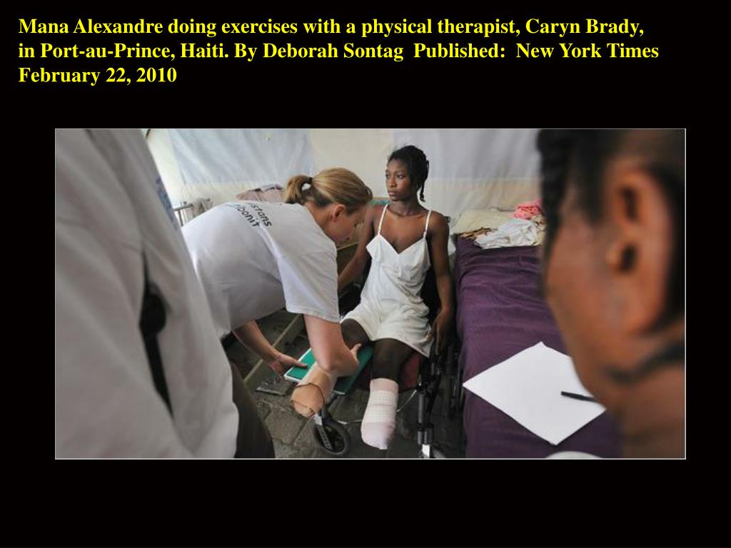 Mana Alexandre doing exercises with a physical therapist, Caryn Brady,