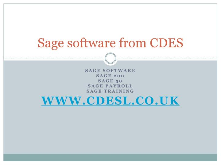 Sage software from cdes