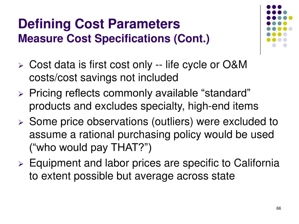 Defining Cost Parameters
