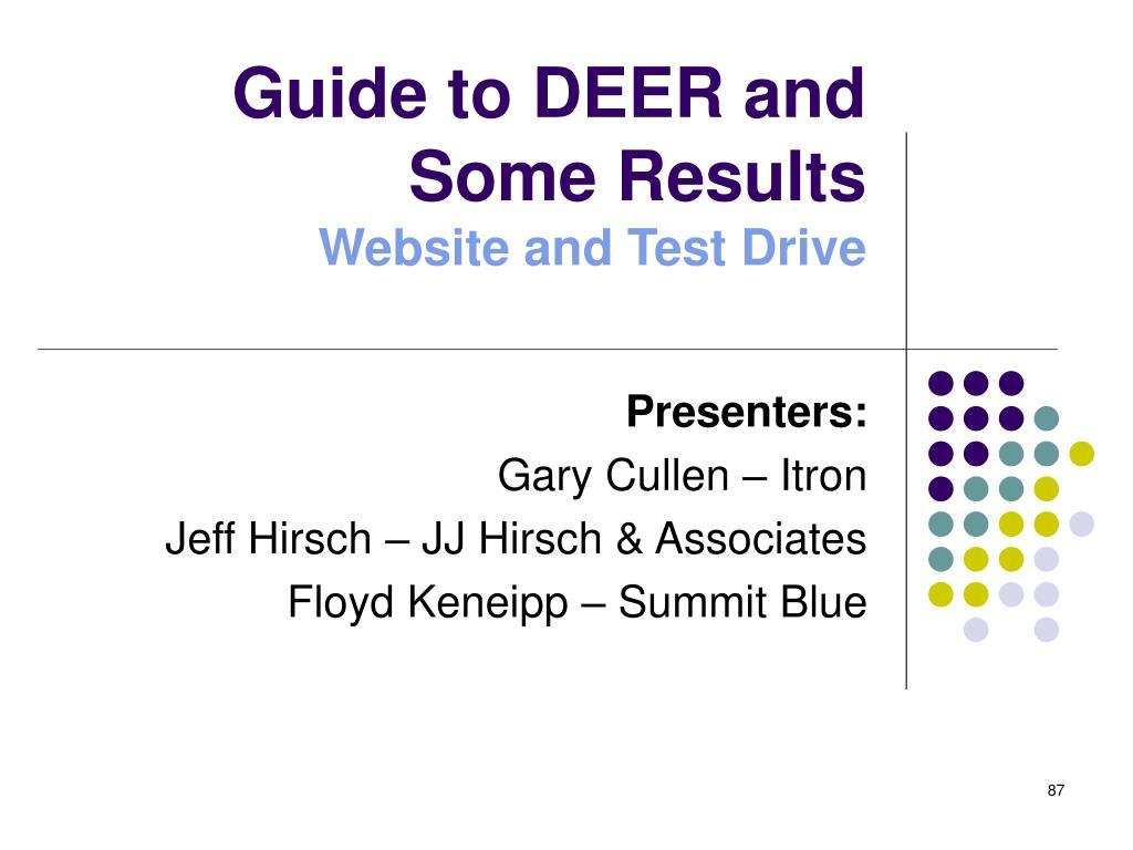 Guide to DEER and Some Results