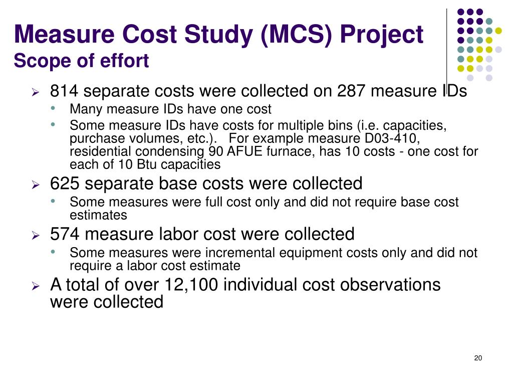 Measure Cost Study (MCS) Project