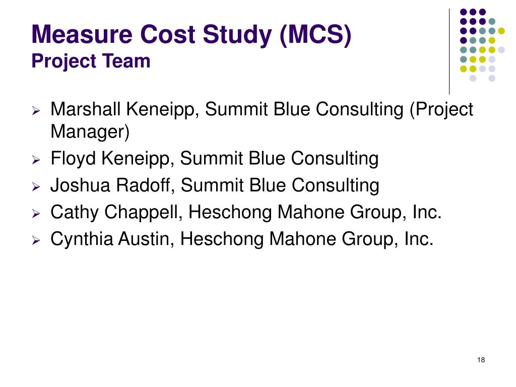 Measure Cost Study (MCS)