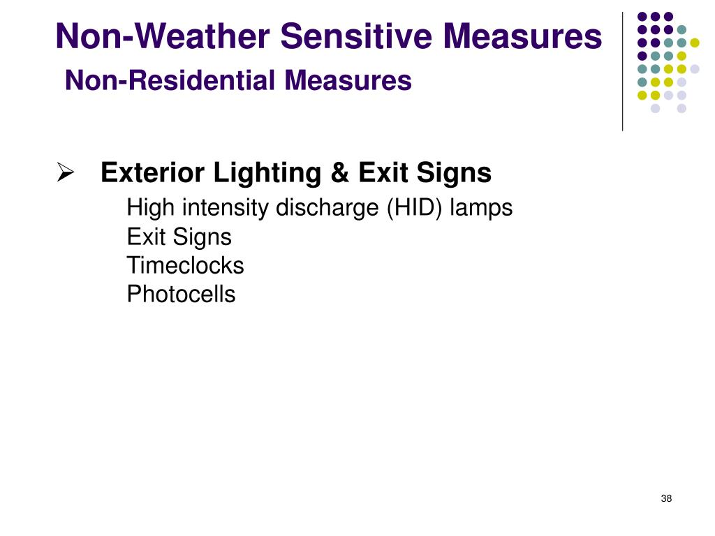 Non-Weather Sensitive Measures