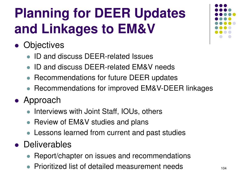 Planning for DEER Updates and Linkages to EM&V