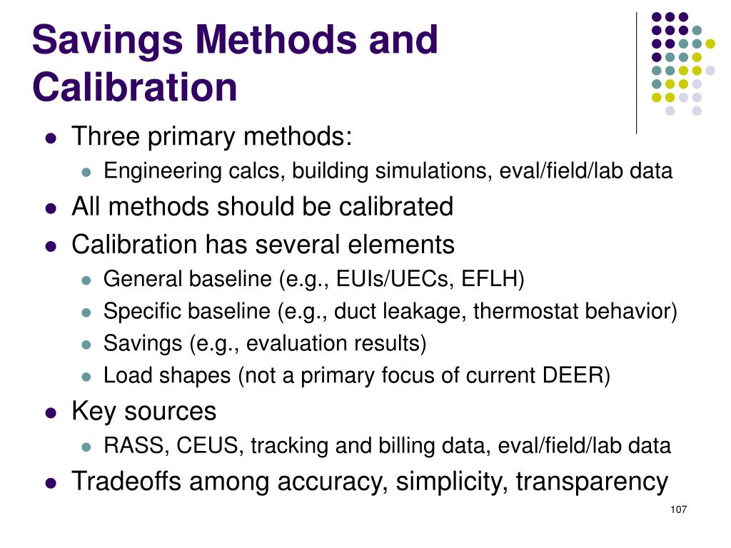 Savings Methods and Calibration