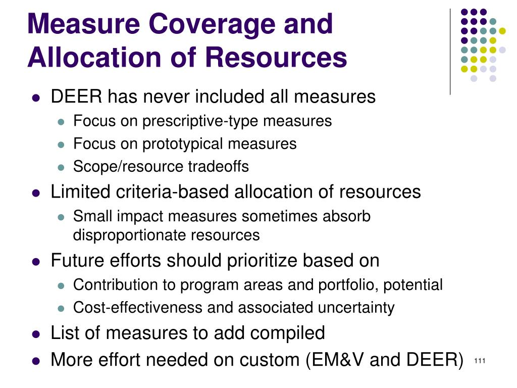Measure Coverage and Allocation of Resources