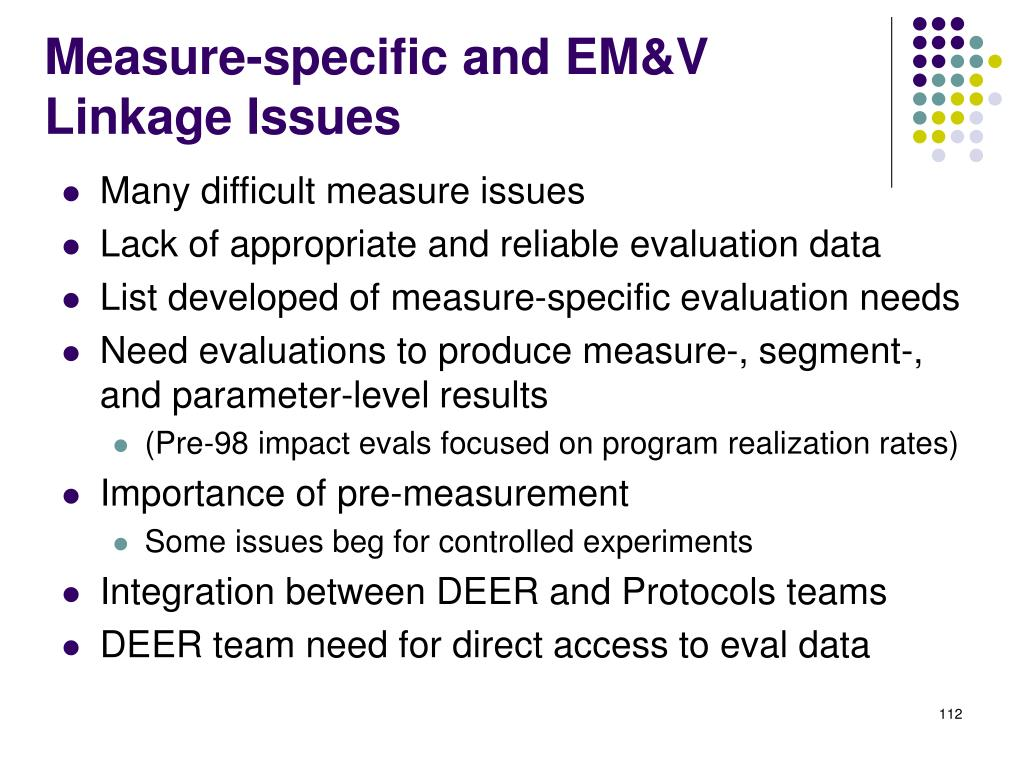 Measure-specific and EM&V Linkage Issues
