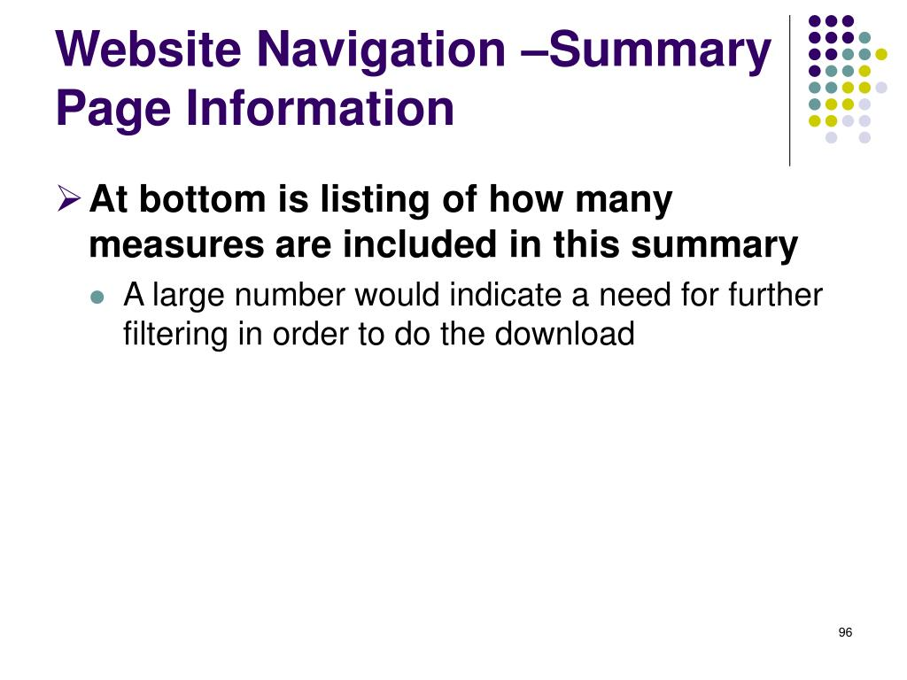 Website Navigation –Summary Page Information