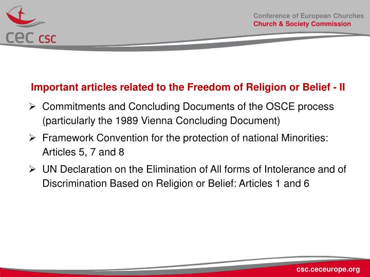 Important articles related to the Freedom of Religion or Belief - II