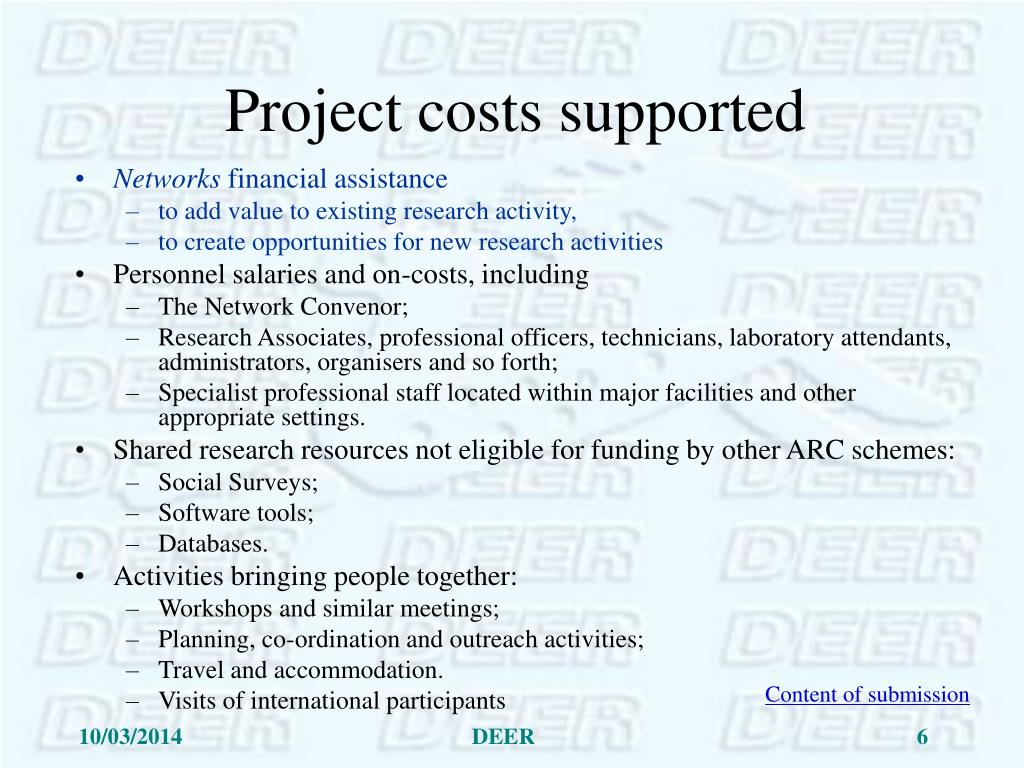 Project costs supported