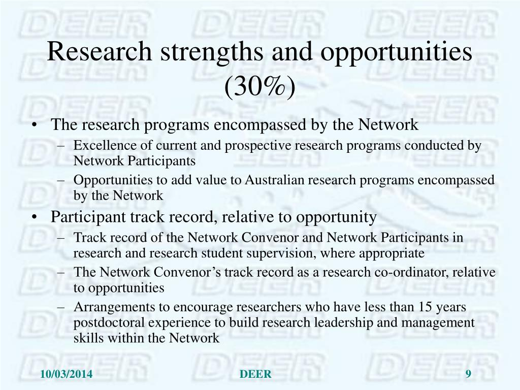 Research strengths and opportunities (30%)