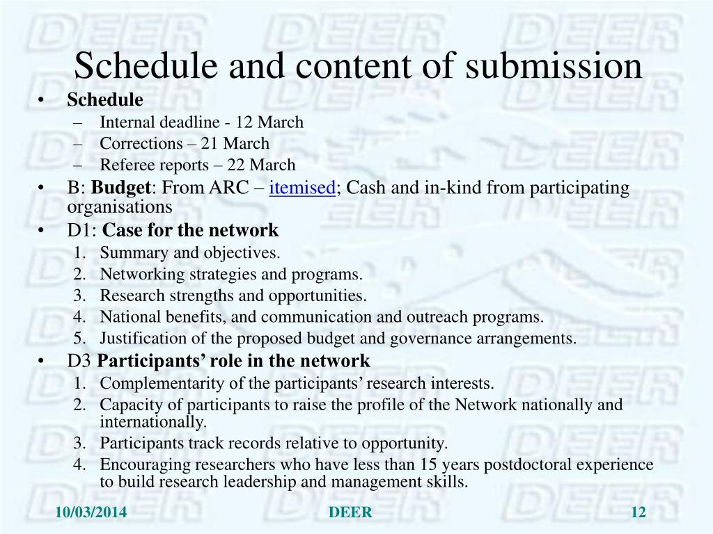 Schedule and content of submission