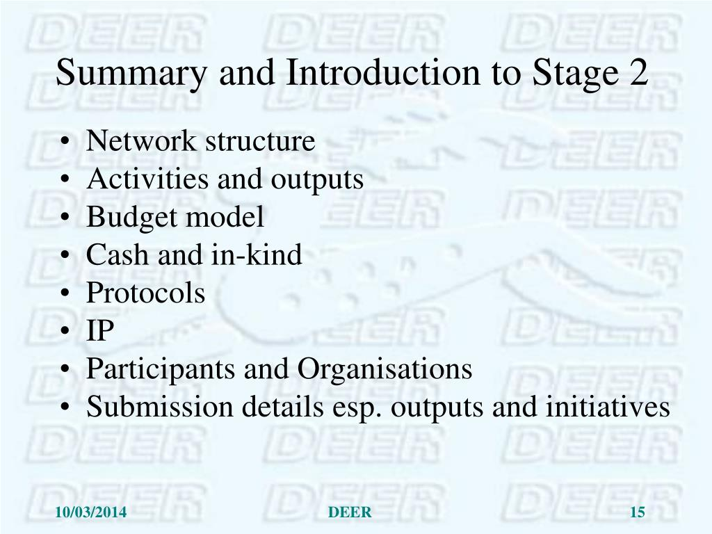 Summary and Introduction to Stage 2