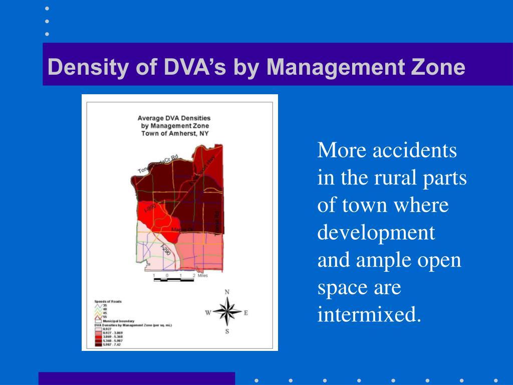 Density of DVA's by Management Zone