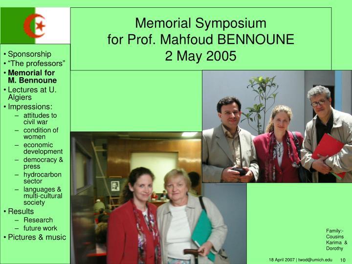 Memorial Symposium