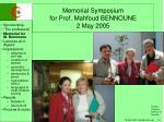 memorial symposium for prof mahfoud bennoune 2 may 20051