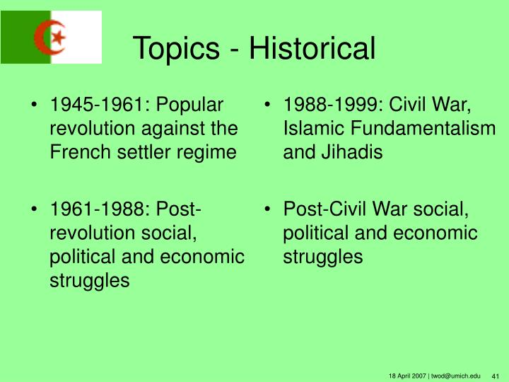 1945-1961: Popular revolution against the French settler regime