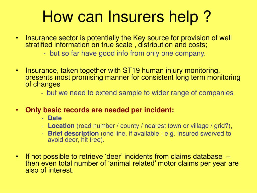 How can Insurers help ?