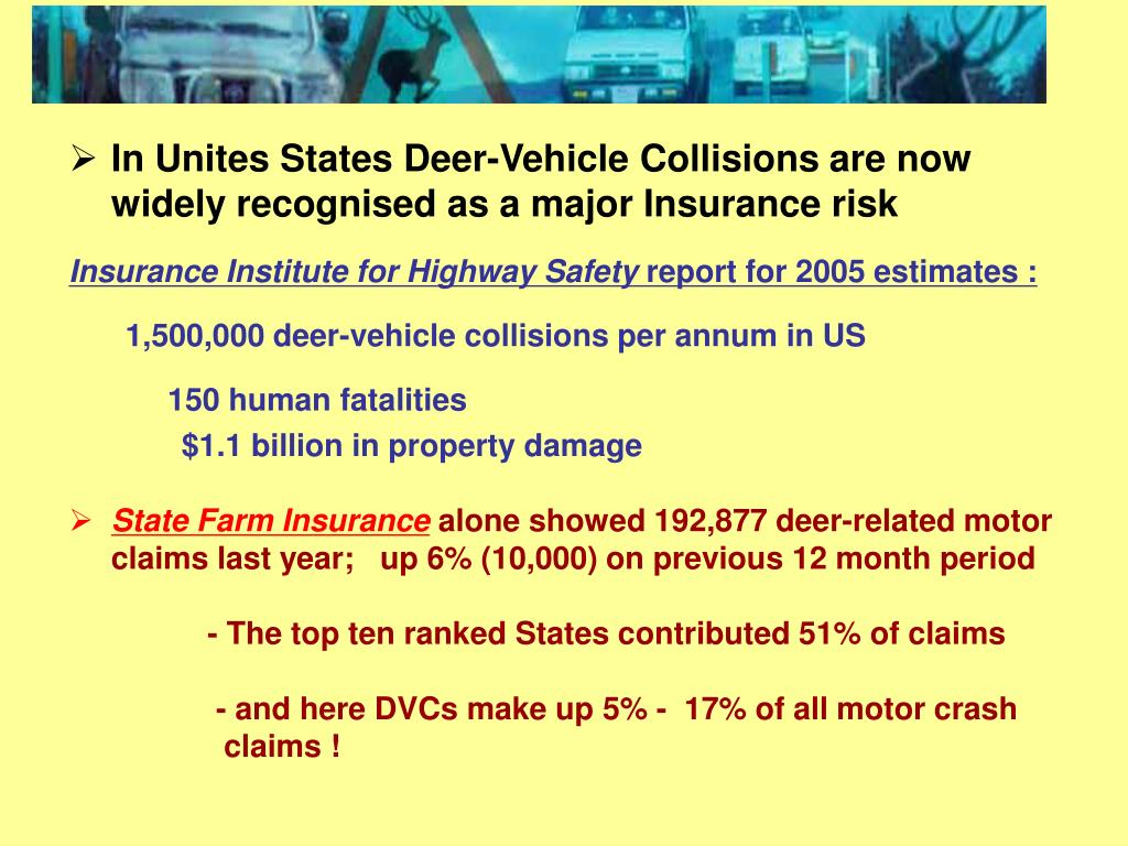 In Unites States Deer-Vehicle Collisions are now widely recognised as a major Insurance risk