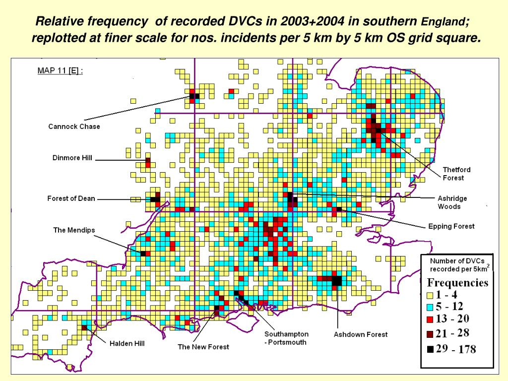 Relative frequency  of recorded DVCs in 2003+2004 in southern