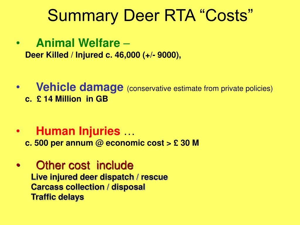 "Summary Deer RTA ""Costs"""