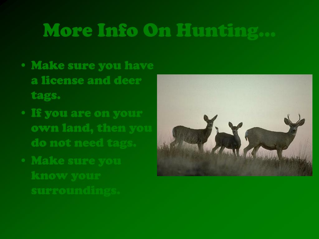 More Info On Hunting…