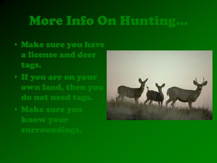 More info on hunting