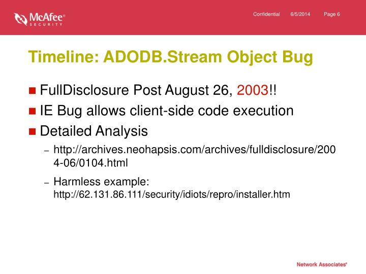 Timeline: ADODB.Stream Object Bug