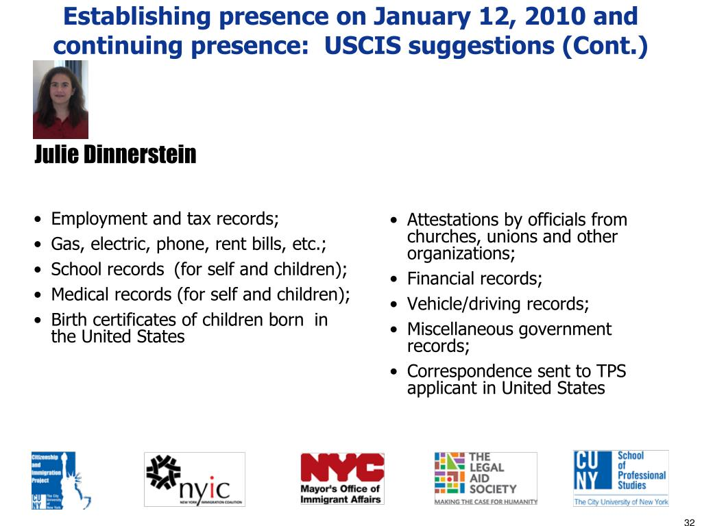 Establishing presence on January 12, 2010 and continuing presence:  USCIS suggestions (Cont.)