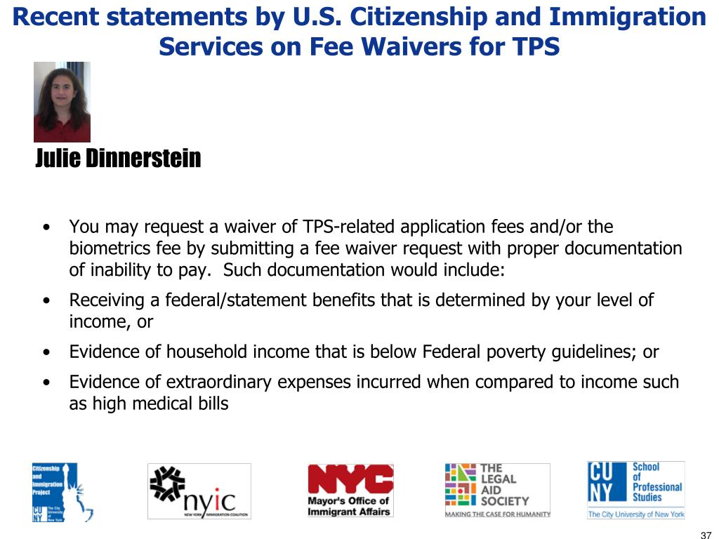 Recent statements by U.S. Citizenship and Immigration Services on Fee Waivers for TPS