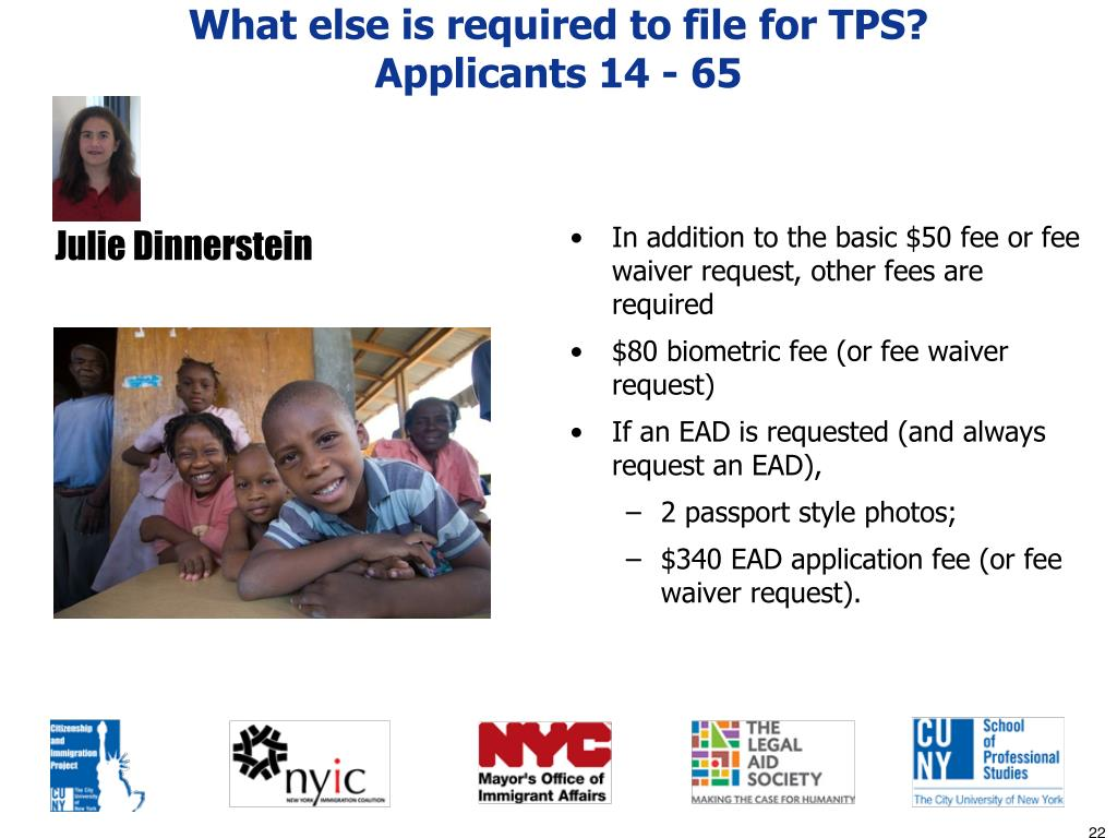 What else is required to file for TPS?
