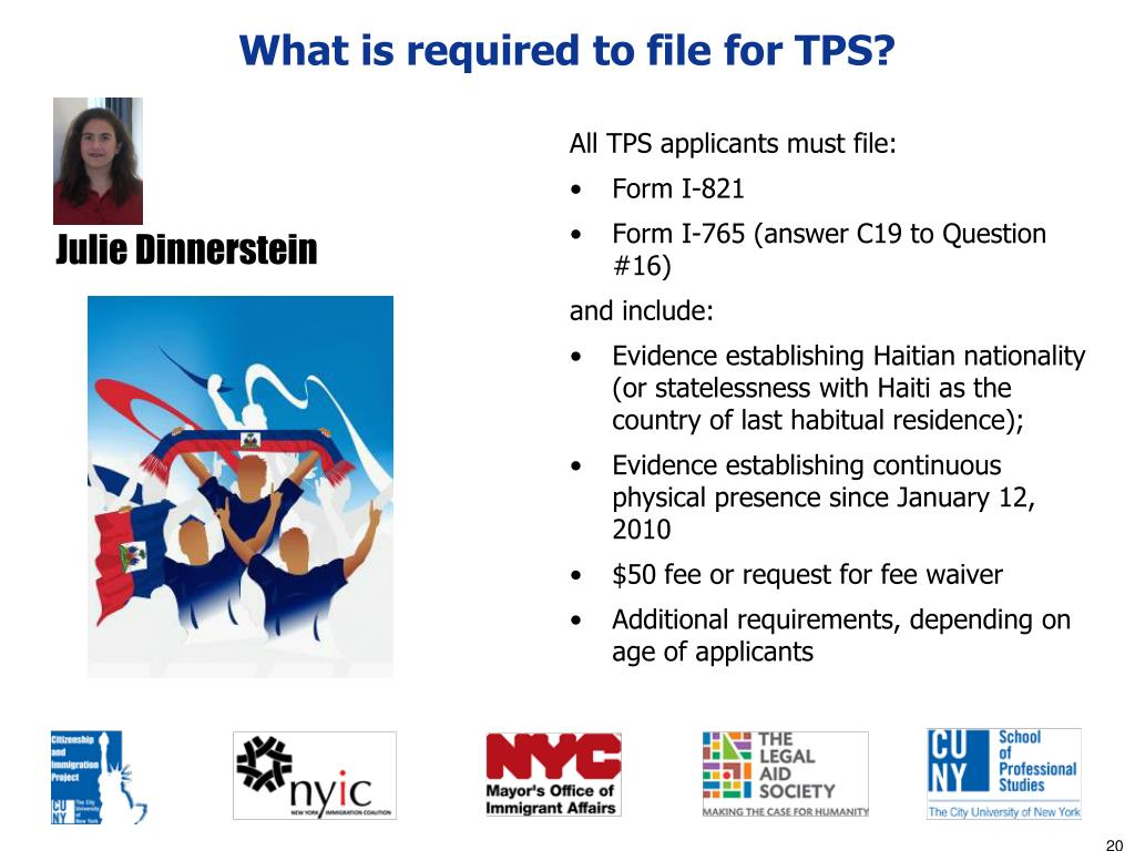 What is required to file for TPS?