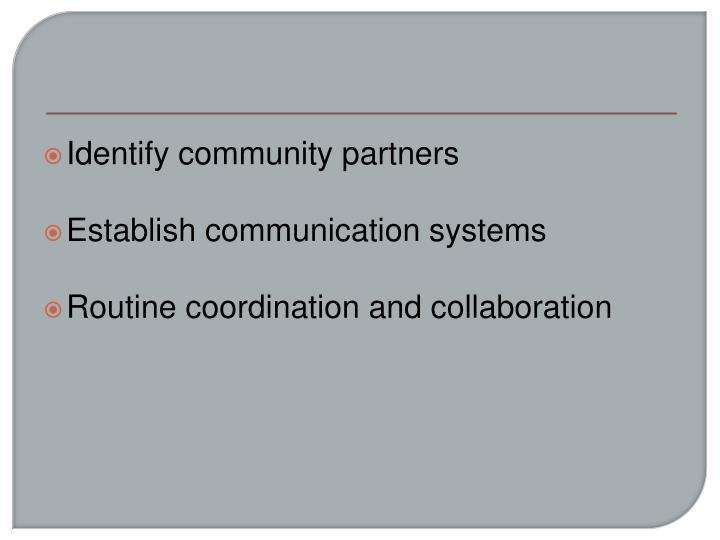 Identify community partners